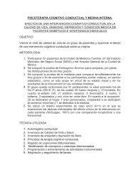 Psicoterapia Cognitivo Conductual Y Medina Interna