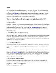 Basic Coding Language Tips On How To Learn Java Programming Easily And Quickly