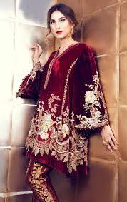 Pakistani Dress Designs Pictures Maroon Velvet Suit With Pakistani Pant Velvet Dress