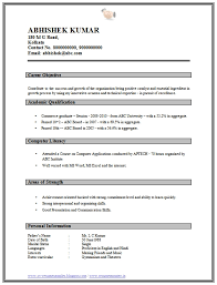 Simple Resume Format For Freshers Free Download Listmachinepro Com