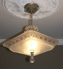 antique ceiling chandelier. 40s antique large square glass deco light fixture ceiling chandelier frosted #artdeco