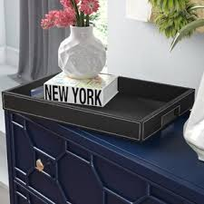 Decorative Trays For Living Room Black Leather Faux Leather Decorative Trays You'll Love Wayfair 28