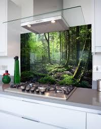 dappled forest printed glass hob splashback