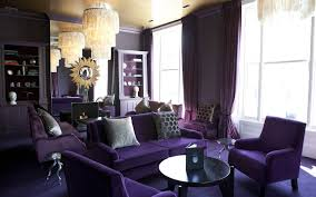 Living Room, Purple Living Room With Sofa And Wooden Table And Carpet And  Window: