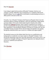 Sample Volunteer Letter 7 Job Application Letter For Volunteer Free Sample