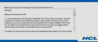Hcl Sent Her An Appointment Letter 3-Years Too Late. Her Response To ...
