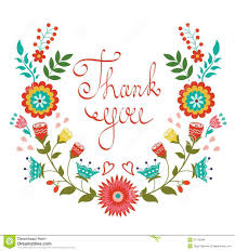 Thank You Card With Floral Wreath Stock Vector