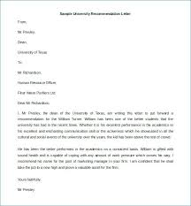 College Recommendation Letter Template Re Letter Templates Free