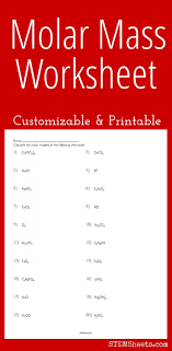 Molar Mass Worksheet Customizable And Printable