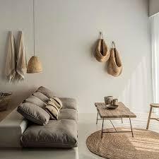Minimal linen wood organic interior decor and design. Home decoration  inspiration. Minimalist living.