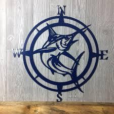 marlin compass wall art nautical metal wall art nautical rose outdoor metal art compass wall hanging beach father s day gift
