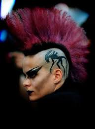 camille noir alien tattoo and excellent colored mohawk on this goth