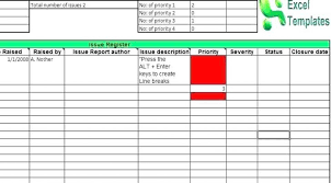 Excel Log Template Project Management Risk Register Issues