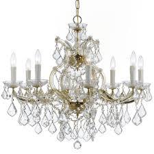 9 light gold crystal chandelier dd in clear swarovski strass crystal
