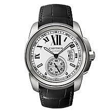 cartier watches ernest jones cartier calibre de cartier men s black leather strap watch product number 8246742