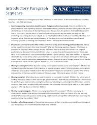 introductory paragraph sequence college reading and writing