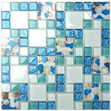 10 sheets beach style glass conch tiles