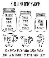 Kitchen Measuring Conversion Chart Decal Baking Spoons Cooking Cups Vinyl Decal Ebay