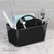 interdesign clarity silverware flatware caddy organizer for kitchen countertop storage dining table wood black 4 piece b01ei7dfys