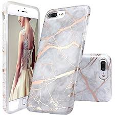 iphone 8 plus case. iphone 7 plus case,iphone 8 case,doujiaz gray shiny rose gold marble iphone case