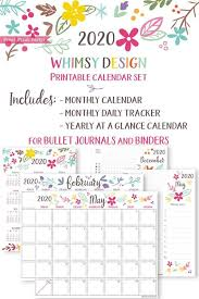 2020 Printable Calendar Template Set Whimsy