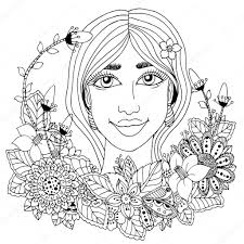vector ilration with flowers in her hair doodle drawing tative exercise coloring book anti stress for s black and white