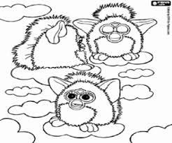 Kleurplaat Drie Furbys Op De Wolken Kleurplaten