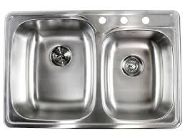 33 inch top mount drop in stainless steel double bowl kitchen sink with 3 hole drilling