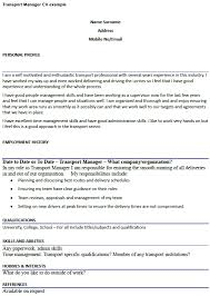 Transport Manager Cv Example Icover Org Uk