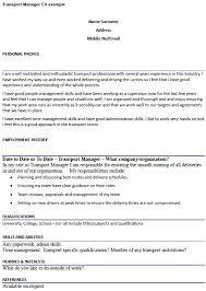 Management Cv Transport Manager Cv Example Icover Org Uk