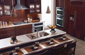 Typical of an Asian style kitchen design, this clean and modern kitchen  features natural elements
