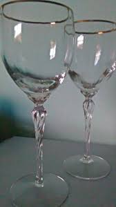 room modern camille glass: vintage wine glasses by lenox crystal body with gold rim and twisted long stem set