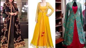 Overcoat Gown Designs Latest Party Wear Dresses With Long Long Jacket Gown Long Jacket Dress Long Jacket Anarkali