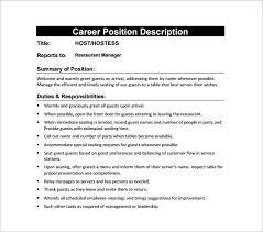 Hostess Job Description Template 12 Free Word Pdf Format