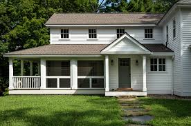 image of white cottage house plans with screened porch