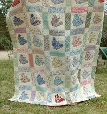 Vintage Quilt - 1930's Sweet Butterfly Applique - Feedsacks - Good ... & Vintage Quilt - 1930's Sweet Butterfly Applique - Feedsacks - Good . Adamdwight.com