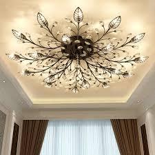 modern k9 crystal led flush mount ceiling chandelier lights fixture gold black home lamps for living
