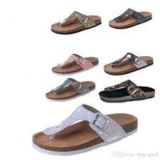 cork slippers sequins beach flip flops women fashion soft wooden sole slippers lady flip flops outdoor vogue slippers sandals