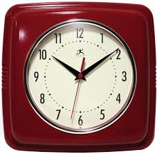 infinity instruments 9 square retro 9w x 9h in wall clock 9 inches square red 13228rd 4103