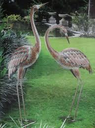 garden cranes. Garden Crane Pair Statues Heron Bird Sculpture Metal Outdoor Patio Pond Yard Art Cranes A