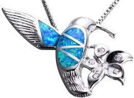 "Amazon.com: Fortonatori Created Blue Opal Bird Necklace 925 Silver Pendant  Necklace 18"" Chain: Clothing"