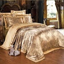 gold jacquard silk comforter duvet cover king queen 4pcs luxury satin bed sheet linen bedclothes blue brown super king duvet covers dark