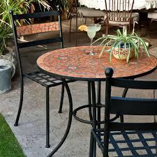 condo outdoor furniture dining table balcony. 3-Piece Black Metal Patio Bistro Set With Terra Cotta Tiles Condo Outdoor Furniture Dining Table Balcony R