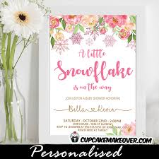 Snowflake Baby Shower Invitations Floral Pink Snowflake Baby Shower Invitations Cupcakemakeover