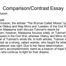 compare and contrast essay conclusion example example of a contrast essay