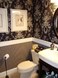 half bathroom ideas brown. half bathroom with white toilet, wink wooden holder, black and tile ideas brown d