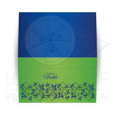 Folded Place Cards Folded Place Cards Escort Cards Royal Blue Lime Green Floral