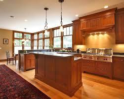 Beautiful Quarter Sawn Oak Kitchen Cabinets Kitchen Craftsman With Breakfast Bar Ceiling Lighting  | Beeyoutifullife.com Design Ideas