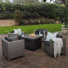 com livingston outdoor 4 pc club chair set w water resistant cushions stone firepit grey garden outdoor
