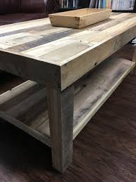 Rectangle Pallet Wood Coffee Table with Lower Shelf